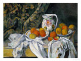 Still Life with Curtain and Flowered Pitcher, 1899 Giclee Print by Paul Cézanne
