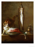 A Cat with a Piece of Salmon, Two Mackerels, Mortar and Pestle, 1728 Giclee Print by Jean-Baptiste Simeon Chardin