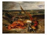 Still Life with Lobster, 1827 Giclée-tryk af Eugene Delacroix