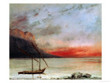 Sunset on Lake Geneva, 1874 Reproduction procédé giclée par Gustave Courbet