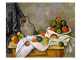 Curtain, Jug and Bowl of Fruit, 1893-1894 Giclee Print by Paul Cézanne
