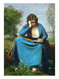 Girl Reading Crowned with Flowers or Virgil's Muse Giclee Print by Jean-Baptiste-Camille Corot