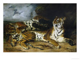 A Young Tiger Playing with Its Mother, 1830 Giclée-trykk av Eugene Delacroix