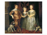 Portraits of the Three Eldest Children of Charles I, King of England Reproduction proc&#233;d&#233; gicl&#233;e par Sir Anthony Van Dyck