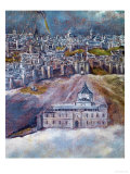 View and Map of Toledo Giclee-trykk av  El Greco