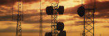 Silhouette of Satellite Dish on Communication Towers, Idaho, USA Photographic Print by Panoramic Images