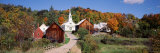 Village in Autumn, Waits River, Vermont, USA Photographic Print by  Panoramic Images
