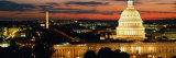 City Lit Up at Dusk, Washington D.C., USA Fotografie-Druck von  Panoramic Images