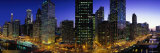 Buildings Lit Up at Dusk, Chicago, Illinois, USA Photographic Print by  Panoramic Images