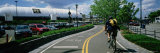Man Riding a Bicycle, Hudson River Park, New York, USA Photographic Print by  Panoramic Images