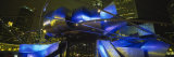 Pavilion in a Park Lit Up at Night, Pritzker Pavilion, Millennium Park, Chicago, Illinois, USA Fotografisk tryk af Panoramic Images