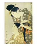 Woman Dressing Another's Hair Posters av Kitagawa Utamaro