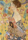 Dam med solfjäder Posters av Gustav Klimt