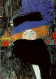 Lady with Hat and Feather Boa Posters by Gustav Klimt