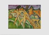 Nude Walking into the Sea, 1912 Poster by Ernst Ludwig Kirchner