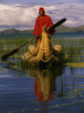 Traditiona Totora Reed Boat & Aymara, Lake Titicaca, Bolivia / Peru, South America Photographic Print by Pete Oxford