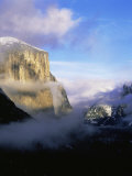 Winter Fog Surrounding El Capitan, Yosemite National Park, California, USA Photographic Print by David Welling