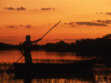 Gaucho Poling Canoe at Sunset, Ibera Marshes National Reserve, Argentina, South America Prints by Ross Couper-johnston