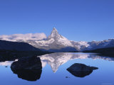 Panoramic View of the Matterhorn Across Lake, Zermatt, Switzerland Prints by Jeremy Walker