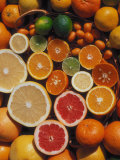 Citrus Fruits, Orange, Grapefruit, Lemon, Sliced in Half Showing Different Colours, Europe Poster von Reinhard