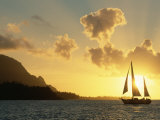Sailing Yacht at Sunset off Coast of Hanalai Bay, Kauai, Hawaii, USA Premium Photographic Print by Rolf Nussbaumer