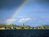 Rainbow Over Vershinino C18th St. Nikola Chapel, Kenozersky National Park. Lake Kenozero, Russia Photographic Print by Igor Shpilenok