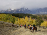 Tourists Enjoying Horseback Riding, Grand Teton National Park, Wyoming, USA Prints by Rolf Nussbaumer