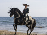 Horseman in Traditional Dress Riding Black Andalusian Stallion on Beach, Ojai, California, USA Photographic Print by Carol Walker