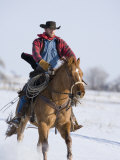 Cowboy Cantering Through Snow on Chestnut Red Dun Quarter Horse Gelding, Berthoud, Colorado, USA Posters by Carol Walker