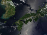 North and South Korea (Upper Left) as Well as the Japanese Island of Shikoku Impressão fotográfica por Stocktrek Images