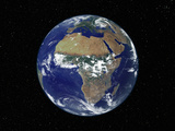 Full Earth Showing Africa, Europe During Day, 2001-08-07 Fotoprint av Stocktrek Images,