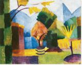 Garten am See Leinwand von Auguste Macke