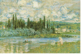 The Seine River Stretched Canvas Print by Claude Monet