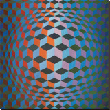 Squares Reproduction transf&#233;r&#233;e sur toile par Victor Vasarely
