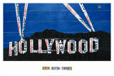 Hollywood Sign at Night Posters by Aaron Foster