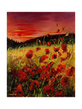 Red Poppies Sunset Poster por  Ledent