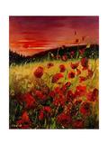Red Poppies Sunset Poster por  Ledent