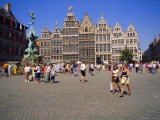 Restored Guildhouses, and the Brabo Fountain, Grote Markt, Antwerp, Belgium Photographic Print by Richard Ashworth