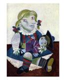 Portrait von Maya und ihrer Puppe, ca. 1938 Kunstdrucke von Pablo Picasso