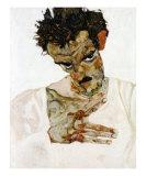 Autoportrait a la Tete Pechee, c.1912 Prints by Egon Schiele