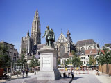 Statue of Rubens, Cathedral, and Groen Plaats, Antwerp, Belgium Photographic Print by Richard Ashworth