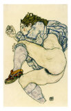 Nu a la Pantoufle a Carreaux, c.1917 Prints by Egon Schiele