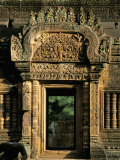 Finely Carved Doorway Within Temple of Banteay Srei, Founded in 967 AD, Angkor, Siem Reap Photographic Print by Richard Ashworth