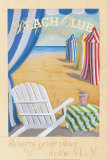 Beach Club Cabanas Print by Karen Dupr&#233;
