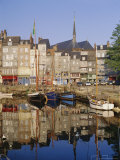 Old Harbour, St. Catherine's Quay and Spire of St. Catherine's Church Behind, Honfleur, France Photographic Print by Richard Ashworth