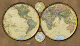 World Map, Hemispheres Print