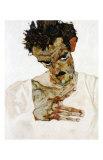 Autoportrait a la Tete Pechee, c.1912 Art by Egon Schiele