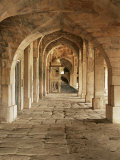Stone Vaults and Nimbar (Pulpit) in Prayer Hall of Jami Masjid, Mandu, Madhya Pradesh State, India Photographic Print by Richard Ashworth