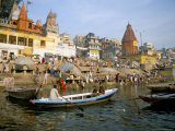 Hindu Sacred River Ganges at Dasasvamedha Ghat, Varanasi, Uttar Pradesh State, India Photographic Print by Richard Ashworth