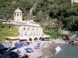 Beach and Benedictine Abbey of San Fruttuosa, Headland of Portofino, Liguria, Italy Photographic Print by Richard Ashworth